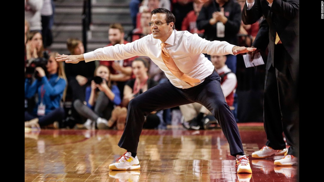 "Nebraska's Tim Miles coaches his players during a Big Ten game against Purdue on Sunday, January 29. Basketball coaches across the country <a href=""http://coaches.acsevents.org/site/PageServer/?pagename=CVC_Home"" target=""_blank"">wore sneakers over the weekend</a> to raise awareness for the American Cancer Society."