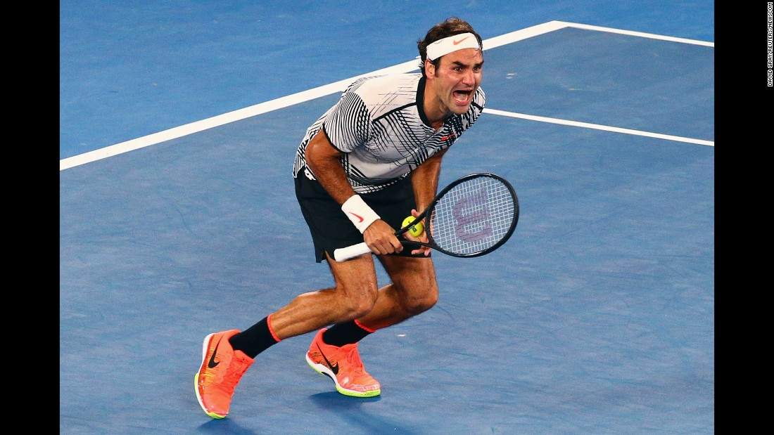 "Roger Federer reacts after defeating his longtime rival, Rafael Nadal, <a href=""http://www.cnn.com/2017/01/29/tennis/federer-nadal-australian-open-final-tennis/index.html"" target=""_blank"">to win the Australian Open final</a> on Sunday, January 29. It was Federer's first Grand Slam title since Wimbledon in 2012. Federer has now won 18 major titles -- the most of any man in the Open era."