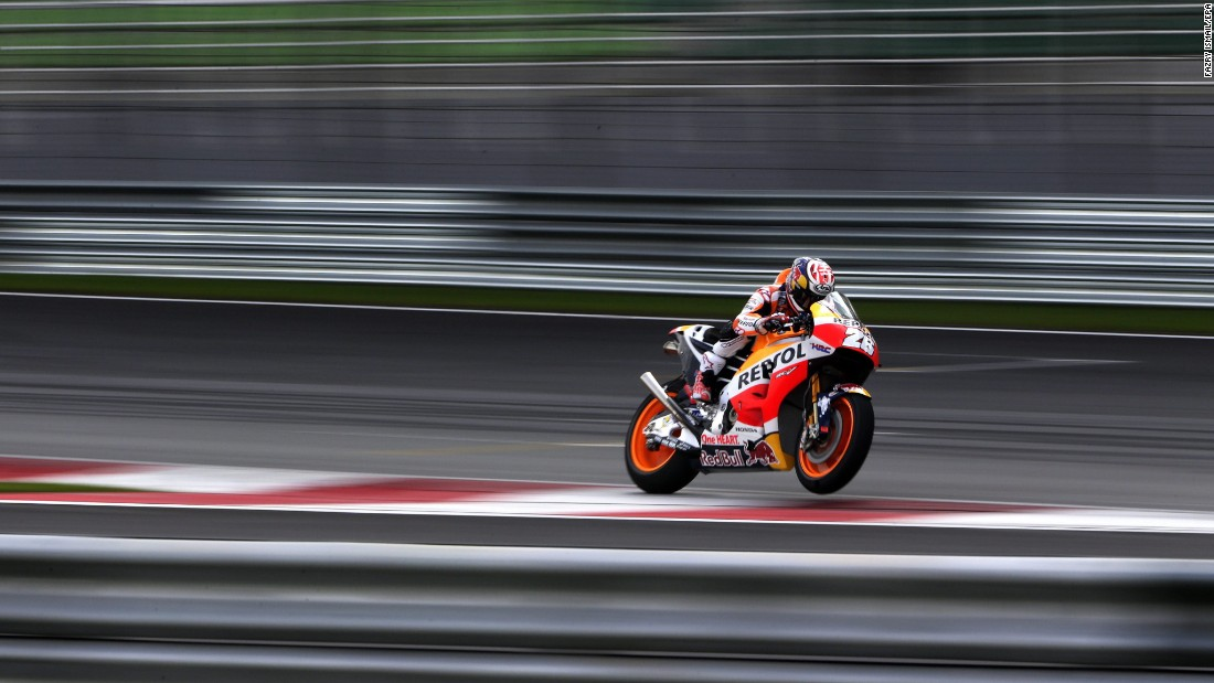 MotoGP rider Dani Pedrosa takes part in a preseason test session near Kuala Lumpur, Malaysia, on Monday, January 30. The new season starts in March.