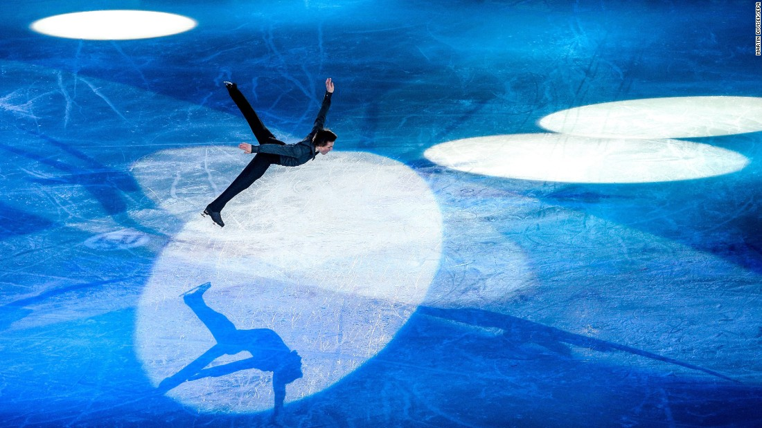 Russian figure skater Mikhail Kolyada performs during the exhibition portion of the European Championships on Sunday, January 29.