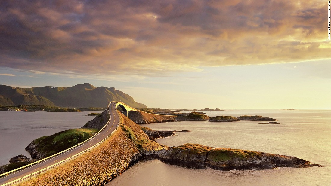 <strong>The Atlantic Road, Norway: </strong>Belly-flips and bridges make up this high-octane drive along the Norwegian coastline. Get ready to see unusual birds flying overhead, while seals and whales swim off the coastline. Plus, at dusk there's a wickedly orange sunset.