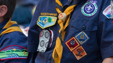 An official uniform, scarf, neckerchief, and patches of the Boy Scouts of America.