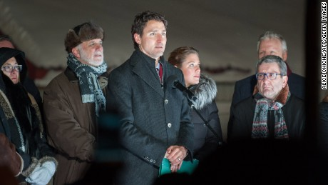 Canadian prime minister Justin Trudeau speaks during a rally near the Islamic Cultural Center in Quebec City.