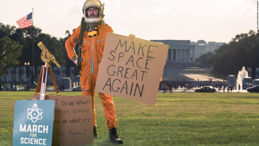 "The <a href=""https://www.instagram.com/everydayastronaut/"" target=""_blank"">Everyday Astronaut</a> of Instagram fame is spreading awareness for scientists to march on Washington, as seen in this widely shared image from last week. ""I fear the idea of censorship of the scientific community,"" Tim Dodd said."