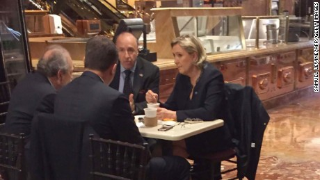 Le Pen was spotted at Trump Tower in Manhattan prior to Donald Trump's inauguration.