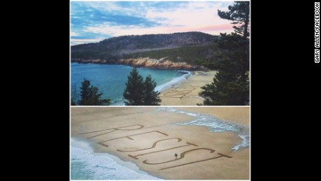 "Gary Allen's photos of the words ""resist"" on a beach in Maine went viral."