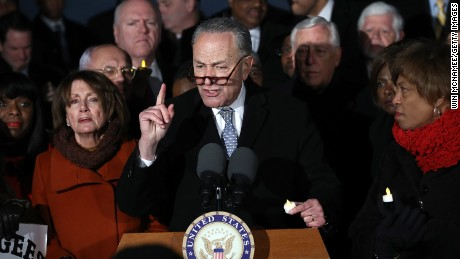 WASHINGTON, DC - JANUARY 30:  Senate Minority Leader Chuck Schumer (D-NY) and House Minority Leader Nancy Pelosi (D-CA) lead members of Congress during a protest on the steps of the U.S. Supreme Court January 30, 2017 in Washington, DC.  (Photo by Win McNamee/Getty Images)