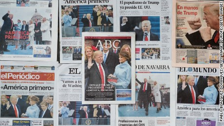 MADRID, SPAIN - JANUARY 21:  An arrangement of Spanish newspapers show U.S. President Donald Trump on the front pages the day after his inauguration on January 21, 2017 in Madrid, Spain. Different organizations called for a demonstration under the slogan 'Let's lift the resistance against Trump' in front of US Embassy in Madrid. The Women's March originated in Washington DC but soon spread to be a global march calling on all concerned citizens to stand up for equality, diversity and inclusion and for women's rights to be recognised around the world as human rights. Global marches are now being held, on the same day, across seven continents.  (Photo by Pablo Blazquez Dominguez/Getty Images)