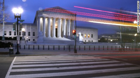 A bus passes the US Supreme Court on January 31, 2017, in Washington.