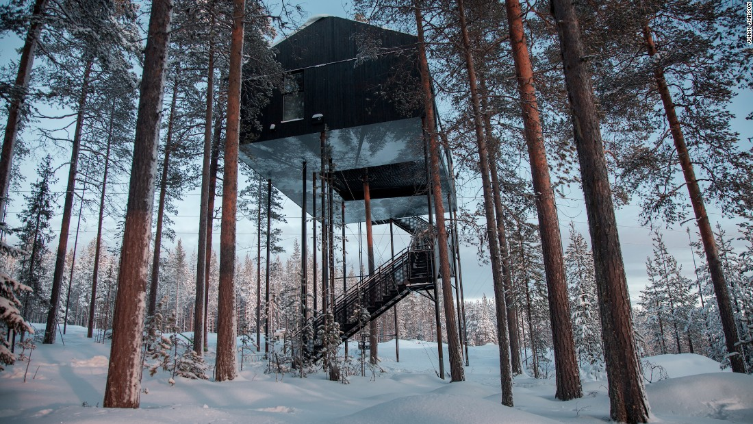 <strong>Treehotel, Sweden:</strong> Hidden away among silent woods and snow banks in Swedish Lapland, Treehotel has an apartment-like cabin built into the canopy, 32 feet above the ground.