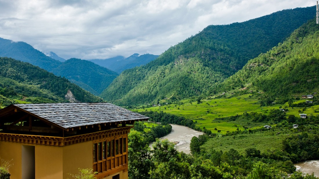 <strong>COMO Uma Punakha, Bhutan:</strong> With sweeping views of the Himalayas, this remote refuge in the heart of Bhutan overlooks the Mo Chhu River swirling through rice paddies, and offers many spa indulgences.