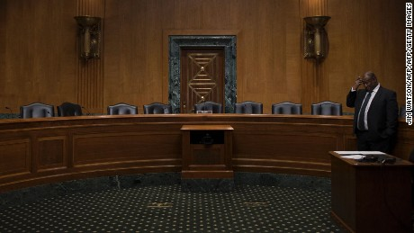 Empty seats in the Senate Finance Committee hearing room on Capitol Hill in Washington, DC, January 31, 2017, after Senate democrats boycotted the markup hearings for the nominations of Steven T. Mnuchin, of California, to be Secretary of the Treasury, and Thomas Price, of Georgia, to be Secretary of Health and Human Services. / AFP / JIM WATSON        (Photo credit should read JIM WATSON/AFP/Getty Images)