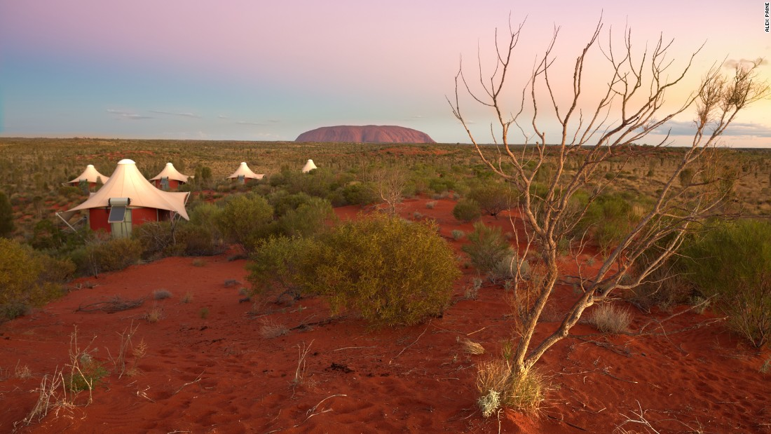 <strong>Longitude 131°, Australia:</strong> Sleep under the stars at Longitude 131°, a remote wilderness lodge in the middle of Australia's World Heritage Uluru-Kata Tjuta National Park, overlooking Ayers Rock.