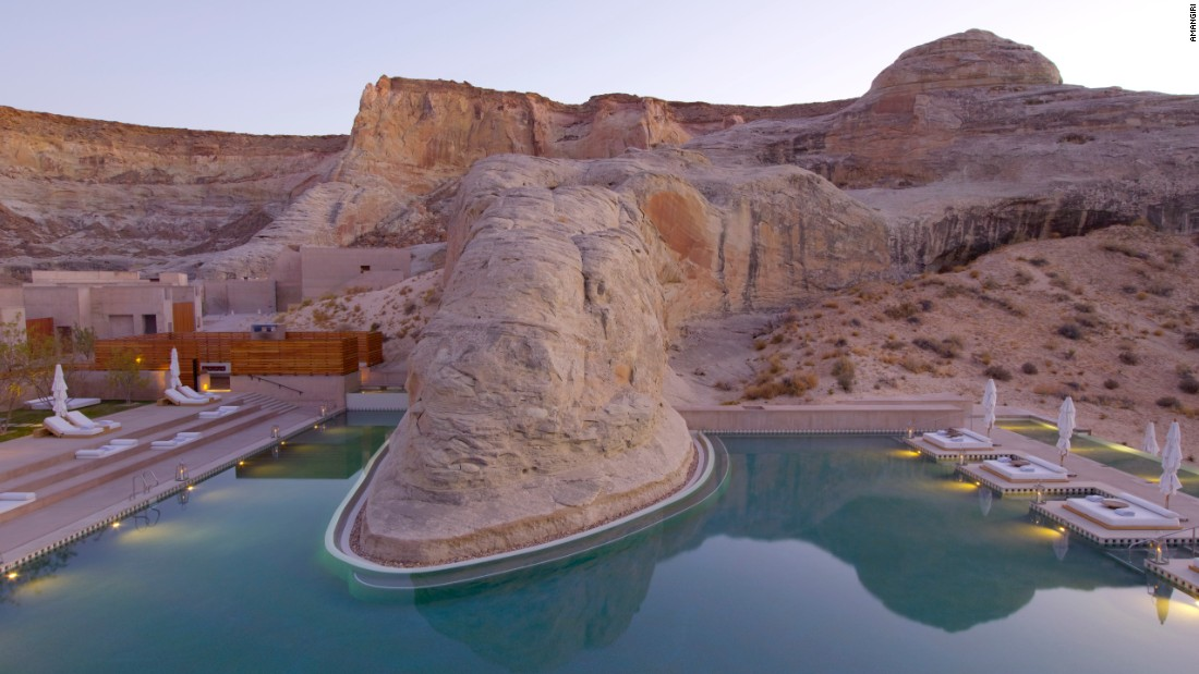 <strong>Amangiri, Utah: </strong>In the middle of desert plains, this hotel does its best to blend into the surroundings. The flat mesas and rolling dunes are in eyesight from the bedrooms, and can be glimpsed in the open desert by foot, horse, hot air balloon or private plane.