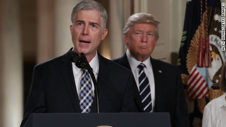 Judge Neil Gorsuch speaks to the crowd on January 31 after his nomination to the Supreme Court by President Donald Trump. Alex Wong/Getty Images