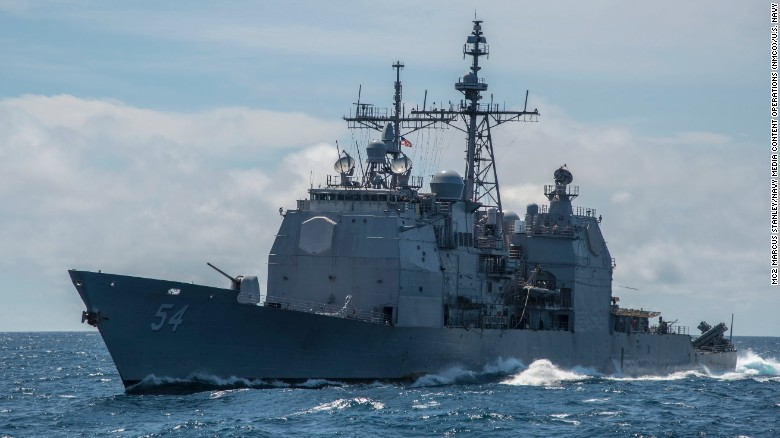 The Ticonderoga-class  guided-missile cruiser USS Antietam, which ran aground in Tokyo Bay on Tuesday.