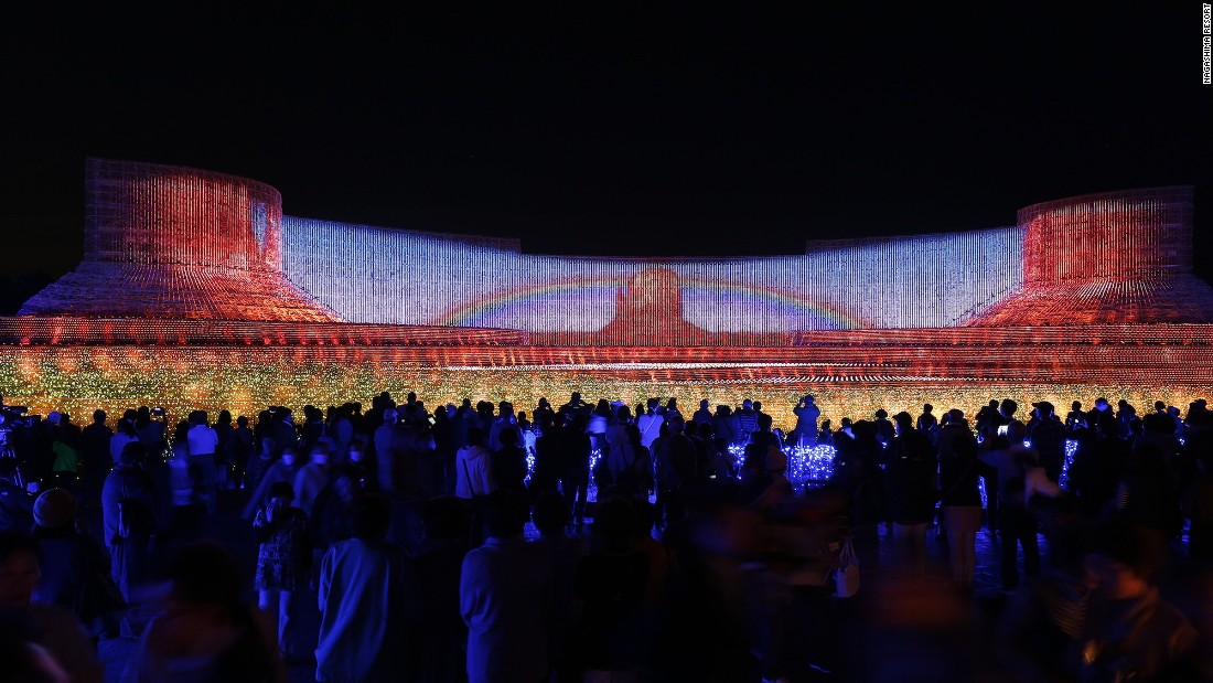 "<strong>The main event:</strong> The theme of this year's Nabana No Sato is ""beauty of mother nature."" The main light show, pictured, features scenes from natural landscapes around the world, including Monument Valley in the United States."