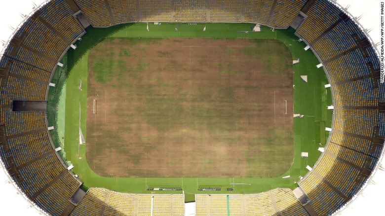 Maracana is one of football's spirutal homes, but the turf is currently dry and worn.