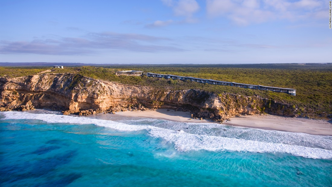 <strong>Southern Island Lodge, Australia:</strong> Snaking along the coastline of Kangaroo Island in southern Australia, this lodge makes the most of ocean views from its perch atop a limestone cliff.