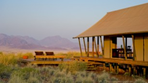 Namibia has stunning sceneries such as this private reserve where visitors can see giraffes, baboons, and zebras.