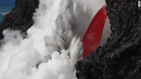 Lava from Kilauea volcano in Hawaii explodes on hitting water