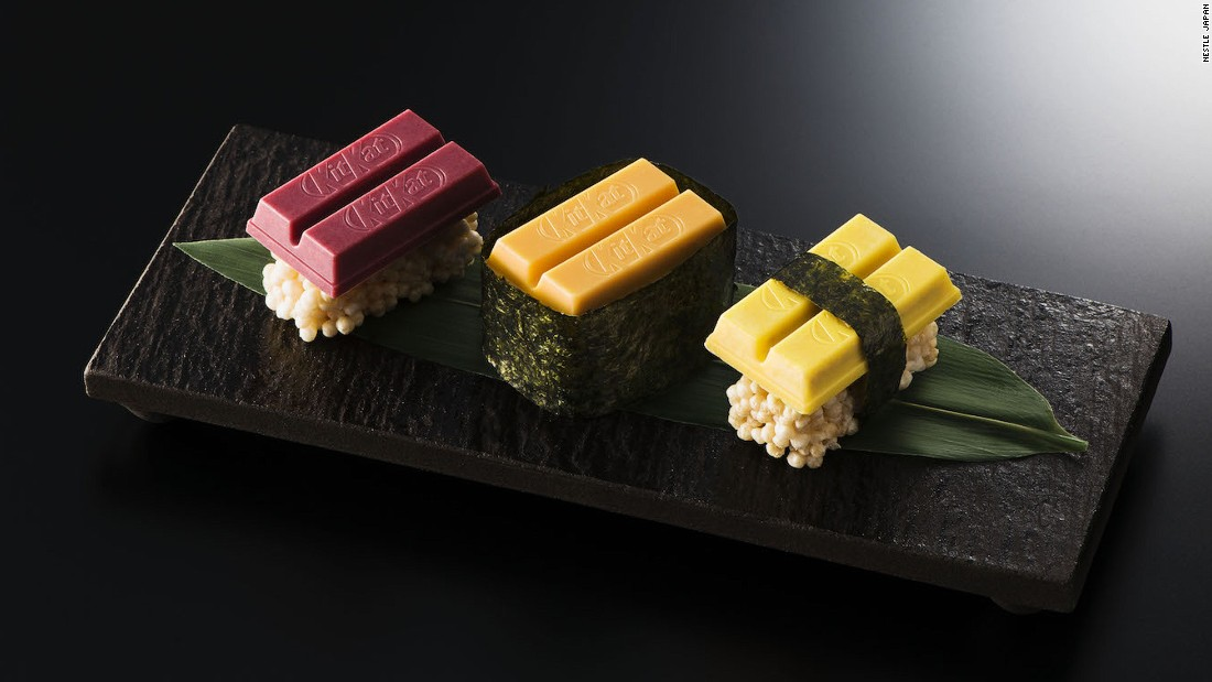 "<strong>Sushi KitKat bars: </strong>These limited edition ""sushi"" sets will be given out to visitors at Tokyo's newest KitKat Chocolatory shop, which is located in Ginza. All three bars, named after the types of sushi they resemble, sit on a base of puffed rice and white chocolate."