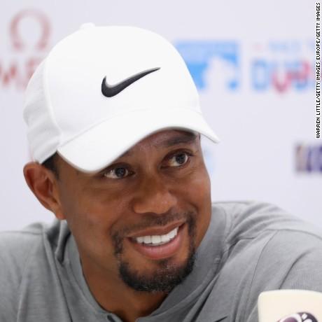 DUBAI, UNITED ARAB EMIRATES - FEBRUARY 01:  Tiger Woods of the USA addresses a press conference during the pro-am ahead of the Omega Dubai Desert Classic at Emirates Golf Club on February 1, 2017 in Dubai, United Arab Emirates.  (Photo by Warren Little/Getty Images)