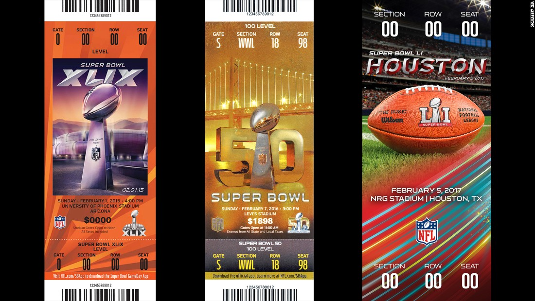 Tickets for Super Bowls XLIX, 50 and LI.