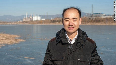 Ma Jun, environmental activist, standing in the outskirts of Beijing on January 18 2017, close to where he grew up