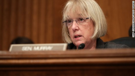Senate Health, Education, Labor and Pensions Committee ranking member Patty Murray (D-WA) questions Betsy DeVos, President-elect Donald Trump's pick to be the next Secretary of Education, during her confirmation hearing in the Dirksen Senate Office Building on Capitol Hill  January 17, 2017 in Washington, DC.