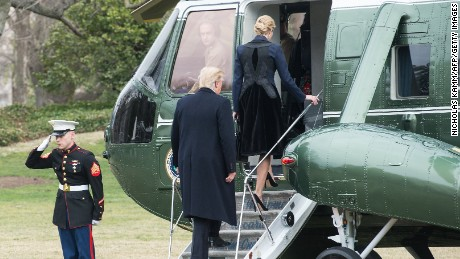 "US President Donald Trump and his daughter Ivanka board Marine One at the White House in Washington, DC, on February 1, 2017. Trump flew to Dover Air Force Base for arrival of remains of a US commando killed William ""Ryan"" Owens early January 29, in Yemen during a raid on Al Qaeda in the Arabian Peninsula. / AFP / NICHOLAS KAMM        (Photo credit should read NICHOLAS KAMM/AFP/Getty Images)"