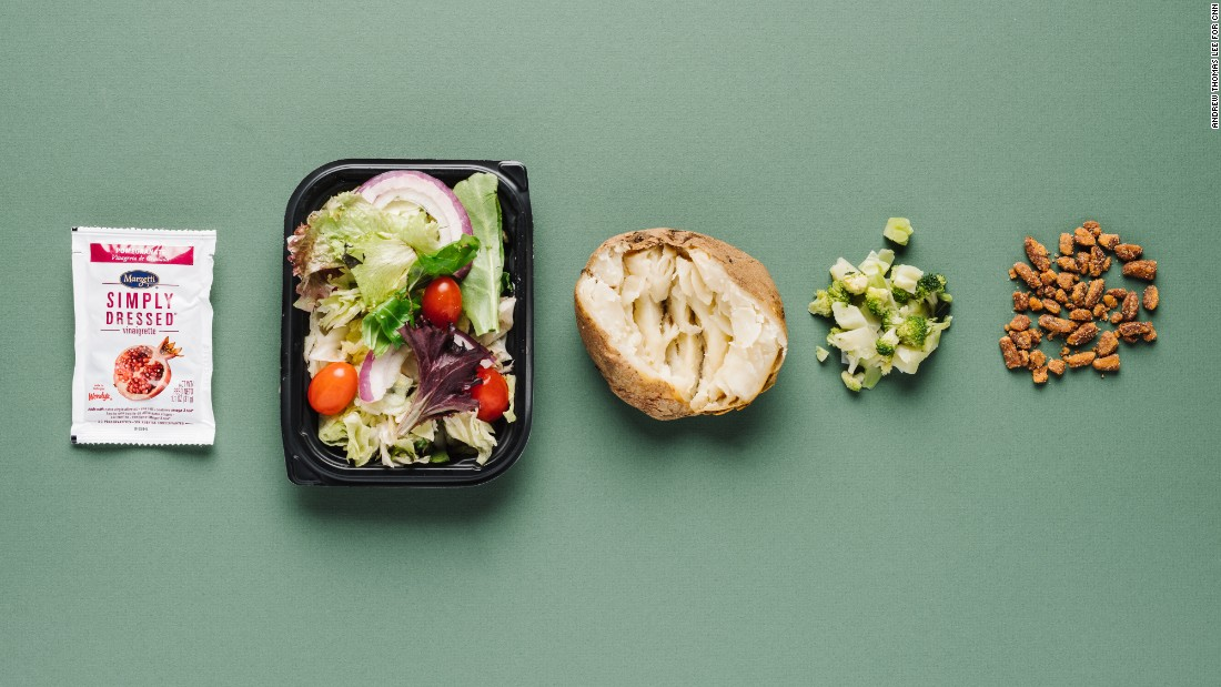 Even without cheese, a baked potato with broccoli at Wendy's delivers 9 grams of fiber and 10 grams of protein. Pair the potato with a garden side salad with pomegranate dressing, and add roasted pecans to boost the protein of the meal.