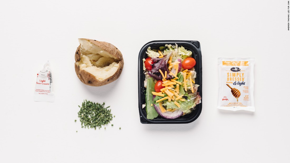 If you're watching sodium and concerned with high blood pressure, Wendy's sour cream and chive baked potato is a winner. Add a garden side salad without croutons with light honey French dressing for only 115 milligrams of sodium. <br />