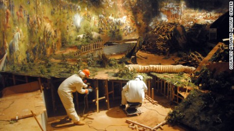 The diorama is removed at the old location. A new one will be built, but it will still feature 128 plaster soldiers.