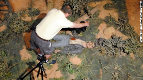 "A photographer documents a plaster soldier with the face of Clark Gable, star of the screen epic ""Gone With the Wind."""