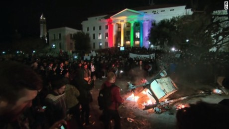 Protests turned violent on the campus of U.C. Berkeley where right-wing speaker Milo Yiannopoulos was set to speak at the university on February 1, 2017.