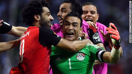 Egypt's goalkeeper Essam El-Hadary (C) celebrates with teammates at the end of the penalty shootout of the 2017 Africa Cup of Nations semi-final football match between Burkina Faso and Egypt at the Stade de l'Amitie Sino-Gabonaise in Libreville on February 1, 2017. / AFP / GABRIEL BOUYS        (Photo credit should read GABRIEL BOUYS/AFP/Getty Images)