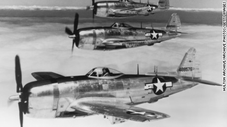 Three P-47 Thunderbolt fighter planes fly above the cloud line in parallel formation during the World War II in 1942.  (Photo by Hulton Archive/Getty Images)
