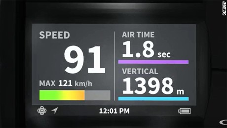 Downhill data: The Airwave's heads-up display.