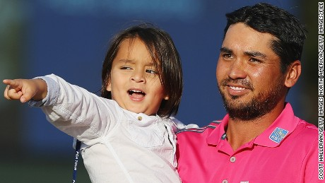PONTE VEDRA BEACH, FL - MAY 15:  Jason Day of Australia celebrates with son Dash after winning during the final round of THE PLAYERS Championship at the Stadium course at TPC Sawgrass on May 15, 2016 in Ponte Vedra Beach, Florida.  (Photo by Scott Halleran/Getty Images)