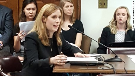 Sexual assault survivor Grace Starling testifies at a hearing on HB 51.