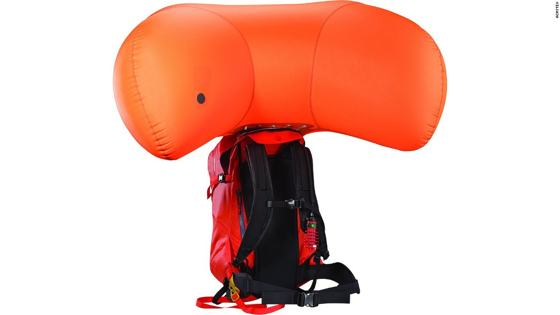 <strong>Arcteryx Voltair avalanche airbag: </strong>Statistics show airbags increase the survival rate of skiers by keeping them near the top of the snow pack. Canadian brand Arcteryx has developed a next-generation airbag that uses a 22.2v lithium-ion polymer rechargeable battery to inflate the bag.