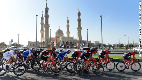 Competitors cycle past Mosque Sheikh Zayed during Tour Dubai 2017