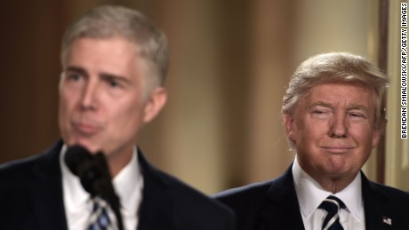 TOPSHOT - Judge Neil Gorsuch speaks, after US President Donald Trump nominated him for the Supreme Court, at the White House in Washington, DC, on January 31, 2017.President Donald Trump on nominated federal appellate judge Neil Gorsuch as his Supreme Court nominee, tilting the balance of the court back in the conservatives' favor. / AFP / Brendan SMIALOWSKI        (Photo credit should read BRENDAN SMIALOWSKI/AFP/Getty Images)