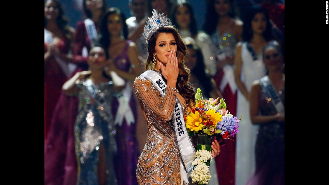 "Iris Mittenaere of France blows kisses to the crowd <a href=""http://www.cnn.com/2017/01/30/entertainment/miss-universe-winner/"" target=""_blank"">after being crowned Miss Universe</a> in Manila, Philippines, on Monday, January 30. The 24-year-old dental surgery student beat 12 other finalists to take the crown and as Miss Universe, she plans to campaign for dental and oral care around the world."