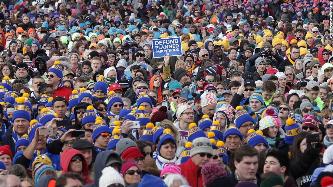 "People rally on the National Mall in Washington during the March for Life on Friday, January 27. The Supreme Court ruled abortion legal in 1973 and since 1974, the annual anti-abortion march has been held in Washington. US Vice President Mike Pence, who spoke about his anti-abortion stance while on the campaign trail, attended this year's march as well. ""Life is winning,"" <a href=""http://www.cnn.com/2017/01/27/politics/mike-pence-march-for-life-speech/index.html"" target=""_blank"">he told the crowd</a>."