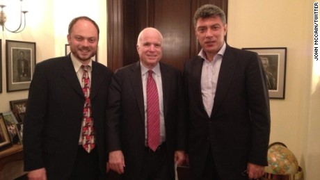 Vladimir Kara-Murza, left, and his now-deceased friend, Boris Nemtsov, right, visit Sen. John McCain in Washington in June 2013.