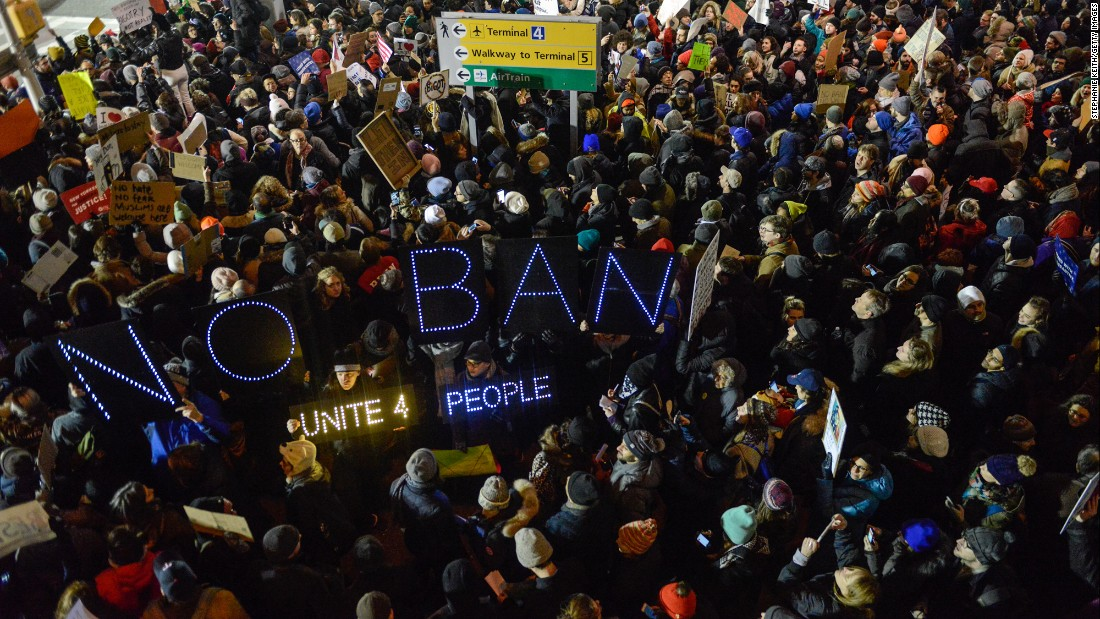 "Protesters rally at New York's John F. Kennedy International Airport during a demonstration against US President Donald Trump's new immigration policies on Saturday, January 28. The day before, Trump signed an <a href=""http://www.cnn.com/2017/01/28/politics/text-of-trump-executive-order-nation-ban-refugees/index.html"" target=""_blank"">executive order banning nationals of seven Muslim-majority countries</a> -- Iraq, Syria, Iran, Libya, Somalia, Sudan and Yemen -- from traveling to the US for at least the next 90 days. The executive order bans entry from those fleeing war-torn Syria indefinitely and also suspends the admission of all refugees to the United States for four months. The President has defended his new executive order, saying: ""We will continue to show compassion to those fleeing oppression, but we will do while protecting our own citizens and voters."""