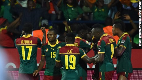 Cameroon's players celebrate after scoring a goal during the 2017 Africa Cup of Nations semi-final football match between Cameroon and Ghana in Franceville on February 2, 2017. / AFP / ISSOUF SANOGO        (Photo credit should read ISSOUF SANOGO/AFP/Getty Images)