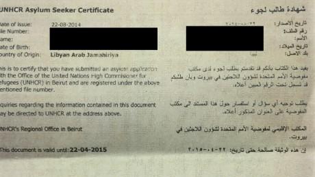 Hass' asylum-seeking certificate